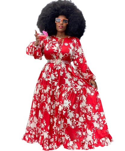 Maxi abito lungo Plus Size Autumn African Floram