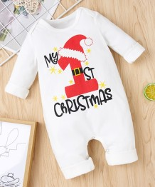 Baby Boy Christmas Print White Rompers