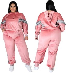 Plus Size Autumn Stripes Hoodie Trainingsanzug