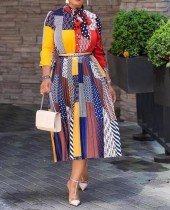 Sonbahar Afrika Renkli Zarif Uzun Elbise