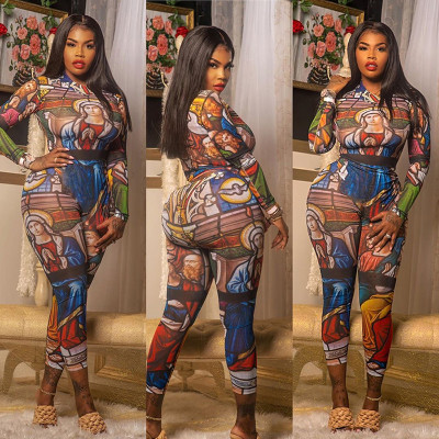Autumn Sexy Print Character Bodycon Jumpsuit