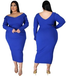 Plus Size Autumn Knitting V-Neck Long Curvy Dress