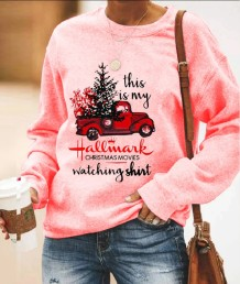 Print Christmas Round Neck Women Shirt