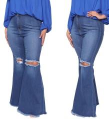 Jeans Plus Size Flare com cintura alta