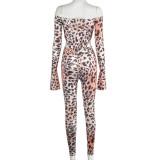 Herbst Party Sexy Leopard Off Shoulder Bodysuit und Legging Set