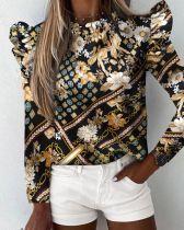 Camicia O-Collo con volant di stampa autunno carino