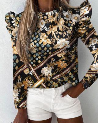 Chemise à col rond à volants et imprimé automne