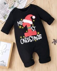 Baby Boy Christmas Print Black Rompers