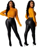 Herbst Sexy High Waist Scrunch Leder Leggings