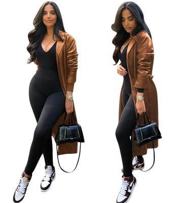 Street Style Winter Long Leather Coat