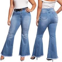 Jeans acampanados regulares de cintura alta de talla grande