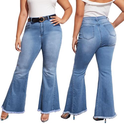 Plus Size High Waist Regular Flare Jeans