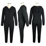 Combinaison pyjama d'hiver en polaire polaire noire