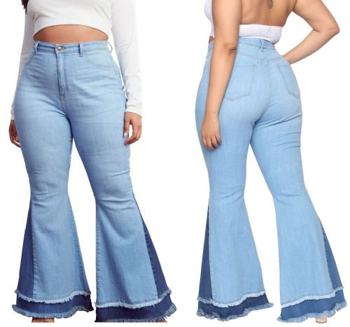 Plus Size High Waist Contrast Flare Jeans