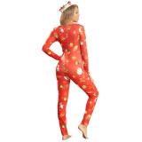 Plus Size Weihnachtsdruck Onesie Jumpsuit Pyjama