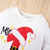 Baby Boy Weihnachtsdruck weiße Strampler