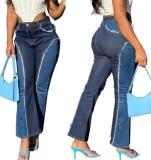 Stilvolle High Waist Contrast Flare Jeans