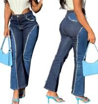 Jeans acampanados de contraste de cintura alta con estilo