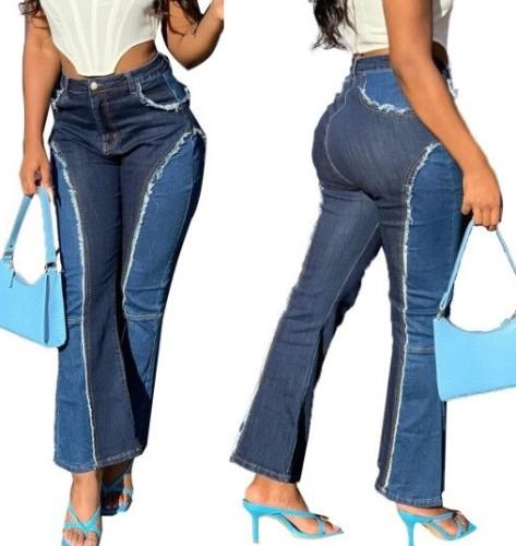 Stylish High Waist Contrast Flare Jeans
