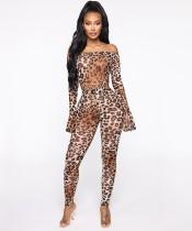 Set completo di tute e leggings con spalle scoperte leopardate di Autumn Party