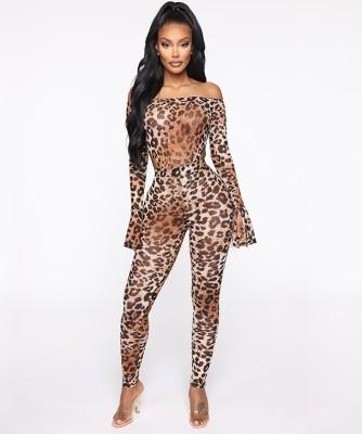 Body et legging sexy léopard à épaules dénudées