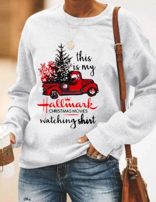 Print Christmas Round Neck Women Shirt