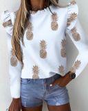 Herbst Cute Print Rüschen O-Neck Shirt