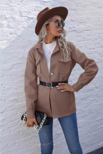 Autumn Solid Plain Button Up Pocket Jacket