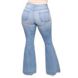 Zerrissene Flare-Jeans in Übergröße mit hoher Taille