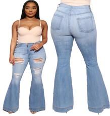 Рваные расклешенные джинсы большого размера с высокой талией