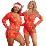 Plus Size Weihnachtsdruck Onesie Rompers Pyjama