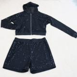 Plus size herfst pailletten hoodie jas en korte broek set