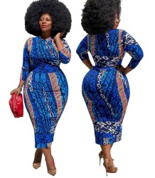 Plus Size Herbst afrikanischen Druck blau reifen Midi-Kleid