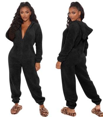 Winter Black Polar Fleece Onesie Jumpsuit Pajama