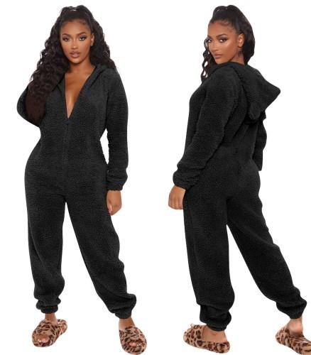 Kışlık Siyah Polar Polar Onesie Tulum Pijama
