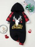 Baby Boy Weihnachtsdruck schwarze Strampler