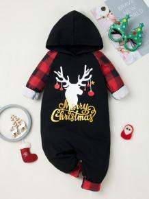 Macacão Baby Boy com estampa de Natal preta