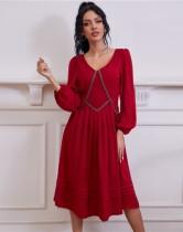 Sonbahar Zarif Kırmızı V Yaka Balo Elbise