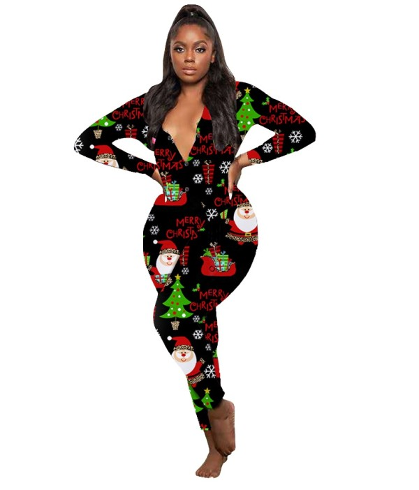 Weihnachtsdruck Jumpsuit Pyjama mit V-Ausschnitt
