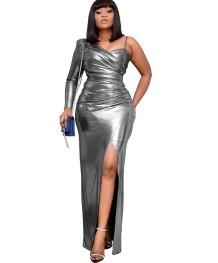 Vestido de noite sexy dividido com uma manga longa