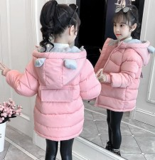 かわいい耳のフード付きの女の子パッド入りコート