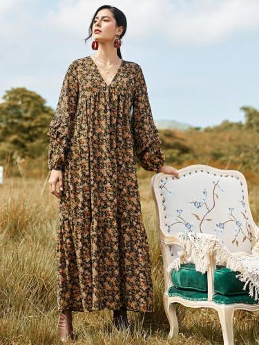 long Sleeve V-neck Floral Loose Long Dress