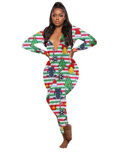 Christmas Print V-neck Jumpsuit Pajama