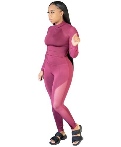 Conjunto de ropa de yoga de patchwork de malla sólida