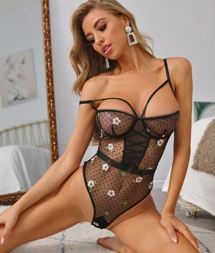 Lingerie sexy dell'orsacchiotto della maglia del pois del fiore