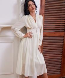 Herbst Elegantes weißes Chiffon-Abendkleid mit hohem Bund und V-Ausschnitt
