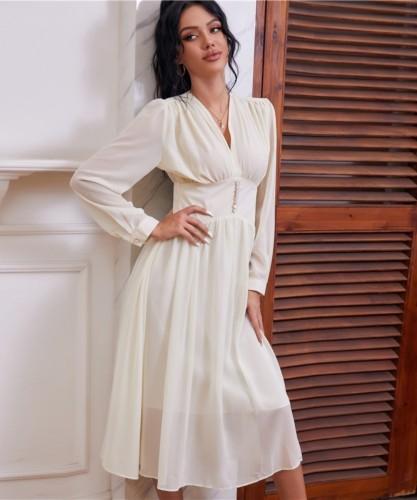 Automne élégante robe de bal en mousseline de soie à col en V blanc taille haute