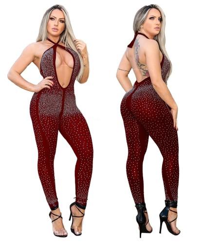 Tuta sexy senza schienale con perline all'americana