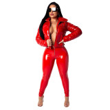 Sexy Fitted High Wasit Zip PU Hose