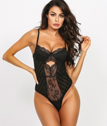 Black Sexy Floral Mesh Teddy Lingerie